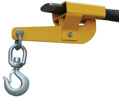 "Hoisting Hooks (Swivel Single Auto-Tension) Convert your fork truck into a hook with anchor in a matter of seconds. The easy to attach hoisting hook does not require the assistance of special tools. Secured to the fork truck by means of a 36"" ong sagety restraint and screw clamps. Available in single of double for design. Units are zinc plated. Hook with shackle included."