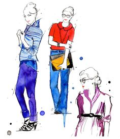 Doodles from my Sketchbook series, Jessica Durrant, original watercolor fashion illustrations - Set of Prepsters. $135.00, via Etsy.