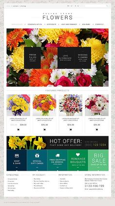 Flowers website inspirations at your coffee break? Browse for more PSD #templates! // Regular price: $50 // Sources available: .PSD, #Flowers #PSD #websitefor