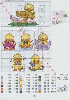 Schema punto croce Japan pulcini