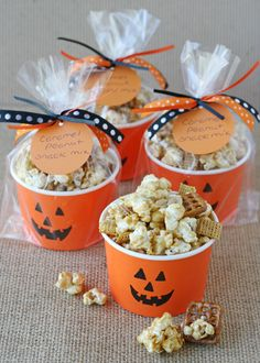 Caramel corn is a party staple, but mixed with pretzels, nuts and cereal, it really can't be beat. Serve it up in cute pumpkin cups for an extra spooky touch. Get the recipe at Glorious Treats.