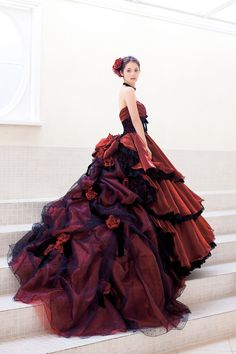 not a good design for me, but gorgeousdetails of the fabrics and black lace.  dball ~ dress ballgown