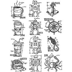 Stampers Anonymous - Tim Holtz - Cling Mounted Rubber Stamp Set - Mini Blueprints 9