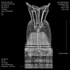 """Charles James """"Tree,"""" CT scan    To understand the Tree, the CHM took the dress to the Field Museum of Natural History and performed a CT scan, using equipment normally used to examine ancient mummies. Here, it reveals the complex skeleton of a dress, rather than its wearer."""