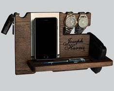Docking Station, with engraved monogram, text or picture is a great gift. Characteristics of docking station: • This Docking Station is a perfect solution to keep all your daily items (smartphone, tablet, keys, watch, glasses, wallet, flash, pen, business cards etc.) organized and