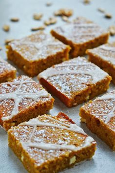A warm, spicy pumpkin tray bake with hot ginger icing and white chocolate chunks. Spongey, moist and delicious - the perfect bake for a cold Autumn day!