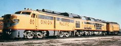 U.P.  #80   (Experimental)  An Alco PA., plus a Great Northern Electric chassis with coal fired turbine,  and a  Centipede tender from  a Challenger. Built by U.P. in 1962.