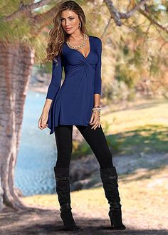 Women's Twist front tunic, jegging, wedge