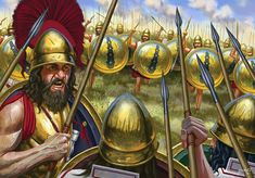 """""""Battle of Leuctra: The Thebans are shown charging at the Spartan lines"""""""