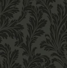 Acanthus Black (33825) - Albany Wallpapers - A Acanthus floral trail on a heavy duty Italian vinyl, showing in Black. Other colour ways available. Please request a sample for true colour match.