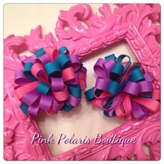 Very Berry Loopy Puff Bows Set of 2 by pinkpolarisboutique on Etsy, $9.50