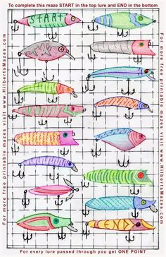 Hand Drawn Fishing Lures Maze - Free Printable PDF - Hilberts Mazes