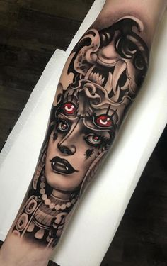 artists on Somegram Posts Videos & Stories Neo Tr ink Tattoos Realistic, Scary Tattoos, Cool Tattoos, Makeup Tattoos, Body Art Tattoos, Sleeve Tattoos, Dragon Tattoos For Men, Tattoos For Kids, Traditional Tattoo Artwork