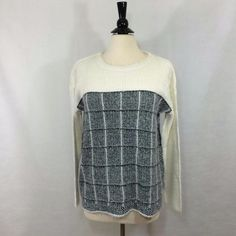 NEW Kim Rogers Womens Sweater Plaid Eyelash Black Ivory Crew Pullover Top NWT #KimRogers #Sweater #Career