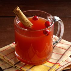 Slow-Cooked Apple Cranberry Cider Recipe -Buffets are my favorite way to feed a crowd. This fruity cider can be made ahead, then kept warm in a slow cooker so people can serve themselves. —Kathy Wells, Brodhead, Wisconsin