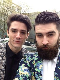 Mateus and uncle Rafe (Diego Barrueco and Chris John Millington) Moustaches, Mode Masculine, Chris Millington, Chris John, Diego Barrueco, Hair And Beard Styles, Hair Styles, Francisco Lachowski, Sexy Beard