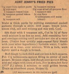 Aunt Jenny's Fried Pies – Vintage Recipe Clipping   RecipeCurio.com