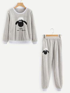 Loungewear by BORNTOWEAR. Sheep Embroidered Top And Pants Pajama Set