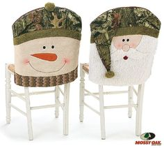 Mossy Oak patterned chair covers of a snowman and Santa. Snowman has a Mossy Oak hat and knit scarf. Santa has a Mossy Oak hat. All are embroidered eyes, nose and mouth Set of 2 chair covers includes 1 Santa and 1 Snowman Each X 19 X 2 Chairs not included Redneck Christmas, Christmas Tea, Christmas Sewing, Christmas Holidays, Christmas Crafts, Christmas Decorations, Holiday Decor, Xmas, Chair Back Covers