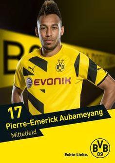 Autogrammkarte von Pierre-Emerick Aubameyang, Stürmer von Borussia Dortmund zur Saison 2014/2015 (Basketball Wallpaper)