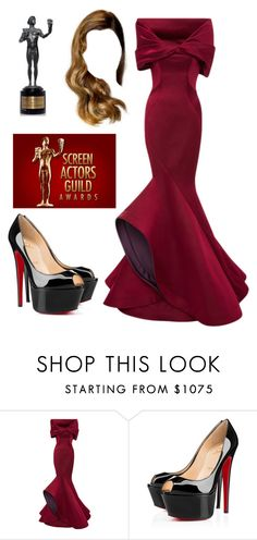"""SAG AWARDS 2016"" by paula24699 ❤ liked on Polyvore featuring Zac Posen, Christian Louboutin, women's clothing, women, female, woman, misses and juniors"