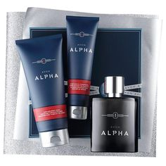 2016 Avon Alpha Holiday Gift Set | Avon. Only $20 Now!  Rich in sparkling verbena, spiced cardamom and refined woods.   A $32 value, this collection includes:  • Eau de Toilette Spray - 3.4 fl. oz $23 value • After Shave Conditioner - 3.4 fl. oz $4 value • Hair & Body Wash - 6.7 fl. oz a $5.50 value