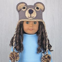 """BEAR ❤ AMERICAN GIRL DOLL HAT crocheted from pattern in the book """"Amigurumi Animal Hats for 18-Inch Dolls"""" by Linda Wright. amazon.com/..."""