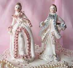 ruffle broken on lady; Vintage Rococo Victorian Bone China Figurines/ Home Decor/ Shabby Chic/ French Decor