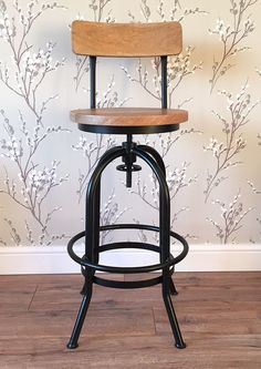 Rustic Industrial bar stool wooden top shabby vintage chic kitchen seat Black in Home, Furniture & DIY, Furniture, Stools & Breakfast Bars | eBay
