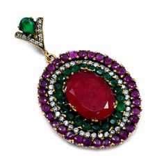 Silvestoo India Ruby, Emerald (Lab) Topaz 925 Silver With Bronze Pendant PG 7103  https://www.amazon.ca/dp/B01H3OCL20