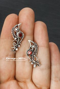 Bullfinches Sterling silver 925 red garnet birds от CharmofMetal