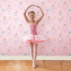 Kids love these pink ballet dancers from the Just 4 Kids Collection by Galerie - G56002R #galerie #homedecor #kids #wallpaper #wallcovering #interior