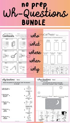 No Prep Wh-Questions, all with picture choices! (Who, what, where, when, why)…