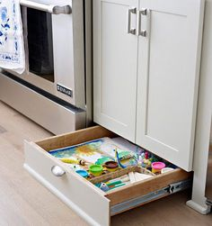 Create additional storage by installng drawers in the toe kicks below your cupboards.