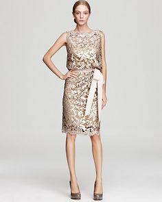 Tadashi Shoji Dress - Sleeveless Lace and Sequin - Dresses - Apparel - Women's - Bloomingdale's