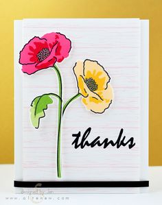 Altenew - new ink pads Hand Made Greeting Cards, Greeting Cards Handmade, Birthday Card Drawing, Poppy Cards, Altenew Cards, Flower Sketches, Watercolor Cards, Watercolor Poppies, Copics