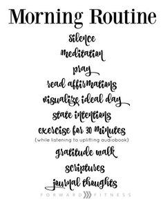 MIRACLE MORNING ROUTINE - FREE PRINTABLE!. SILENCE MEDITATION, PRAY, READ AFFIRMATIONS, VISUALIZE IDEAL DAY, STATE INTENTIONS, EXERCISE FOR 30 MINUTES, GRATITUDE WALK, SCRIPTURES, JOURNAL THOUGHTS.