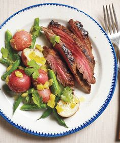 Pineapple-Marinated Steak With Spicy Potatoes and Green Beans | RealSimple.com