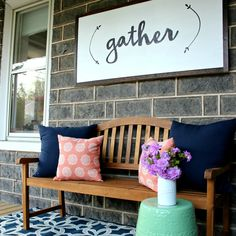 Simple DIY front porch signs are an inexpensive and fun way to add a bit of rustic charm to your ent Front Porch Signs, Front Porches, Country Porches, Country Farmhouse Decor, Farmhouse Signs, Farmhouse Style, Country Crafts, Victorian Farmhouse, Handmade Home Decor