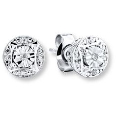 Diamond Earrings Round-cut Sterling Silver ($100) ❤ liked on Polyvore featuring jewelry, earrings, long sparkly earrings, diamond jewellery, diamond jewelry, diamond earrings and sparkle jewelry
