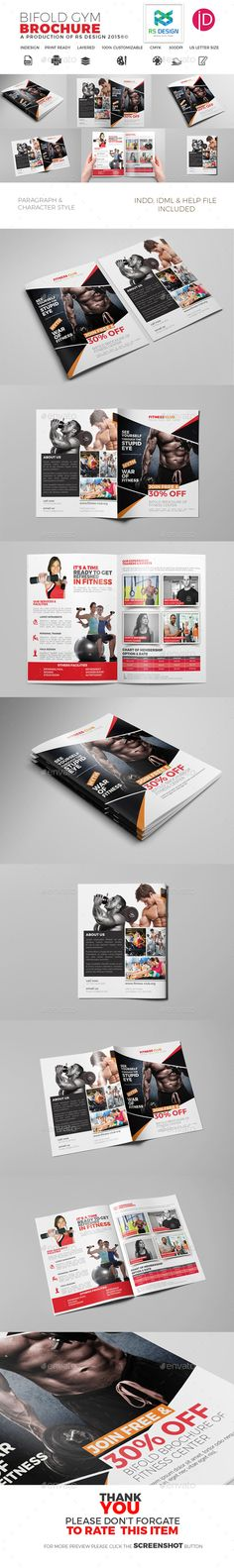 Trifold Brochure for Gym Template InDesign INDD. Download here: http://graphicriver.net/item/bifold-brochure-for-gym/16226764?ref=ksioks
