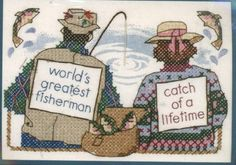 """Dimensions Stamped Cross Stitch Kit - The Greatest Catch 7"""" X 5"""" Frame Size - Fishing Love Themed Pattern    Direct Link:   http://www.amazon.com/Dimensions-Stamped-Cross-Stitch-Kit/dp/B001144VTK/?tag=greavidesto05-20"""