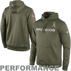 Nike Denver Broncos Salute to Service KO Pullover Performance Hoodie - Olive 082397031
