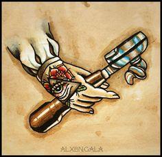Portafilter, Artfé Technique by: Alejandra L Manriquez | #tattoo #barista #coffee #tattooflash