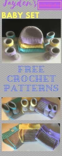 Free crochet pattern - Newborn set - Have the best gift at an upcoming baby shower! The set can be made from newborn to 1 year old, includes booties, beanie and diaper cover.