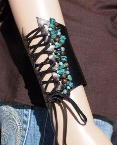 Leather Bracelet Leather Gemstone Bracelet by JuliesofLasVegas, $68.00