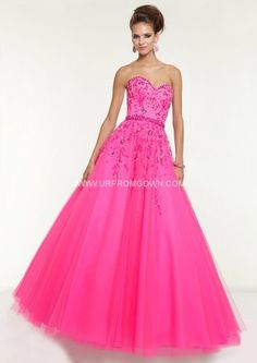 2015 Mori Lee 97130 Jeweled Strapless Ball Gown Pink Panther