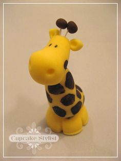 3inch Fondant Giraffe Cake and Cupcake Topper by by CupcakeStylist