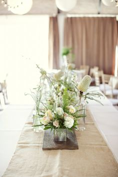 Linen table runners with barn wood shingles