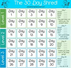 I love doing Jillian Michaels 30 day shred and now I can feed my OCD with this handy calendar. Holla.